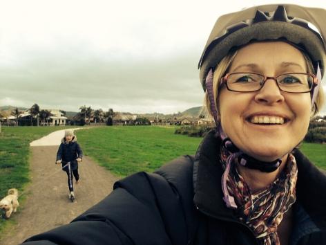 Jan cycling through her hood